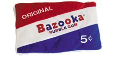 funny bazooka bubble gum candy pillow