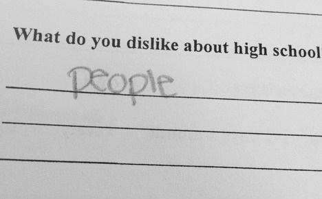 funny test answer what do you dislike about school people