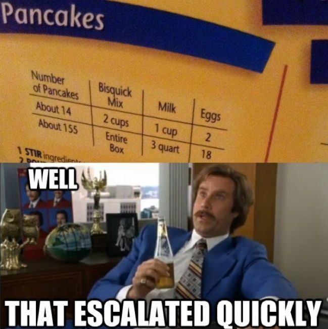 Funny well that escalated quickly will Ferrell meme pictures photos wow pancakes whole box 155