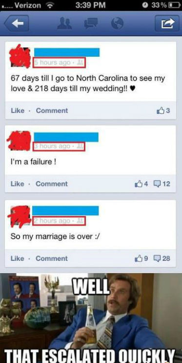 Funny well that escalated quickly will Ferrell meme pictures photos wow getting married 218 days marriage is over