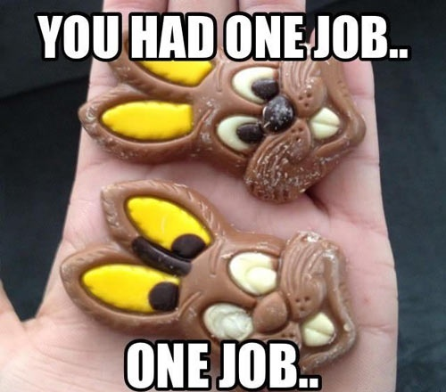 funny you had one job picture chocolate bunny eyes put in ears