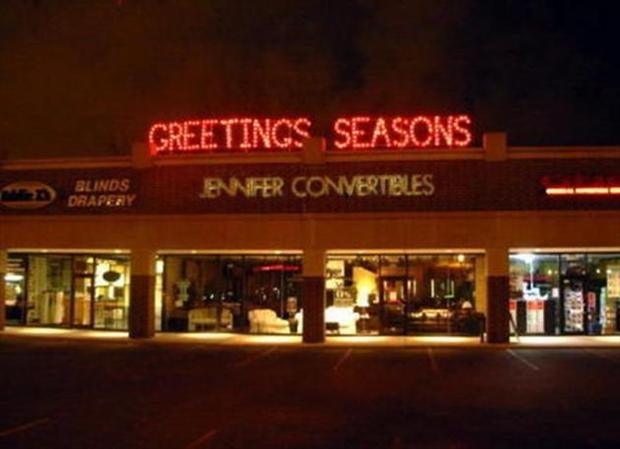 funny you had one job seasons greetings sign backwards