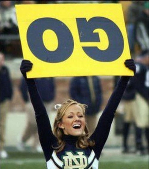 funny you had one job upside down go sign held by cheerleader
