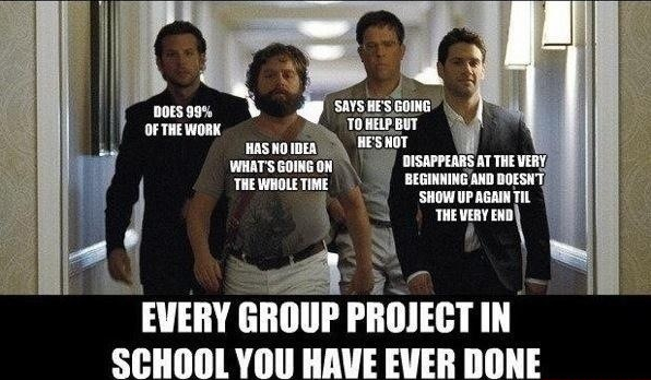 Funny Caption Every Group Project You Have Done In School Crew From The Hangover