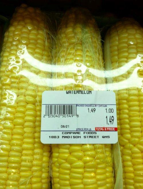 funny corn fail listed as watermelon
