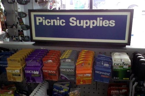 funny fail pic picnic supplies condoms