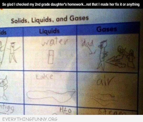 funny test answers solid liquid gas dad