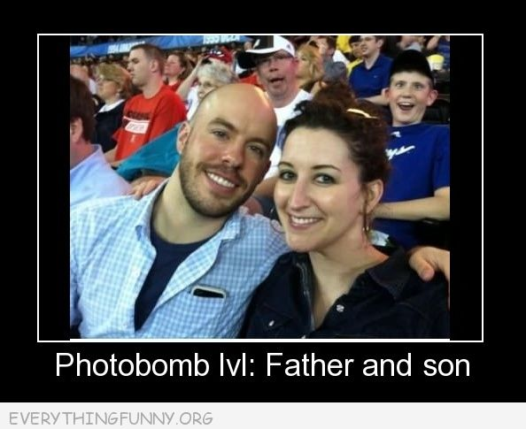 funny caption father son photobomb