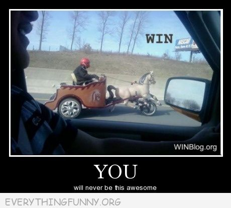 funny guy on motorcycle chariot toy horse highway
