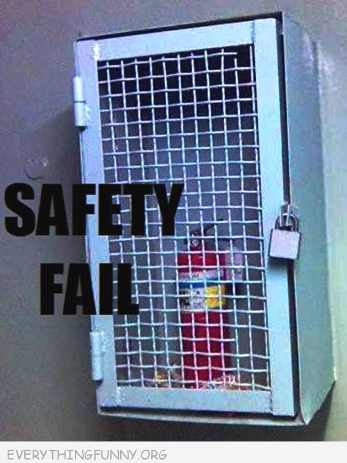 funny fail pic fire extinguisher behind locked gate