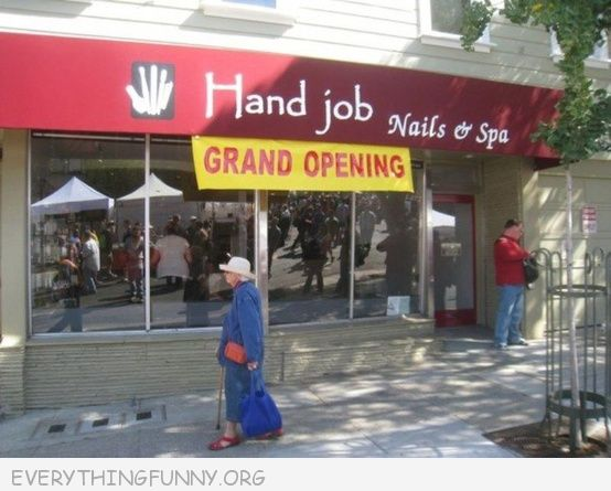 funny billboards sign hand job manicure nail salon