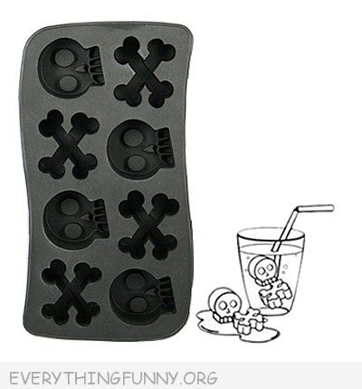funny skull and crossbones shaped ice cube tray