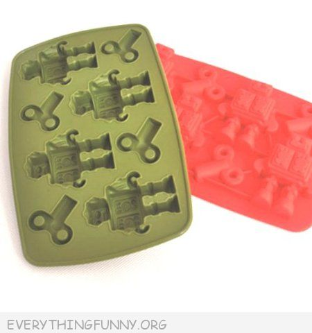funny robot shaped ice cube tray jello mold