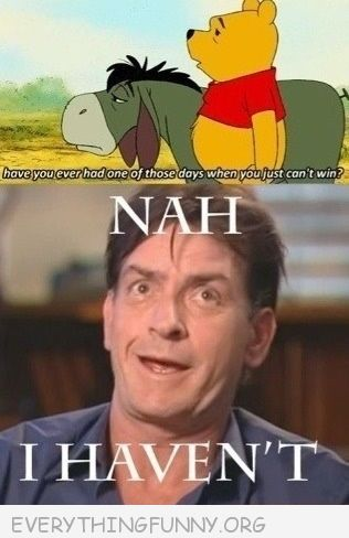 funny caption pooh ever have a day where you can't win charlie sheen no i haven't