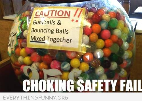 funny fail pics gumballs and rubber balls mixed together