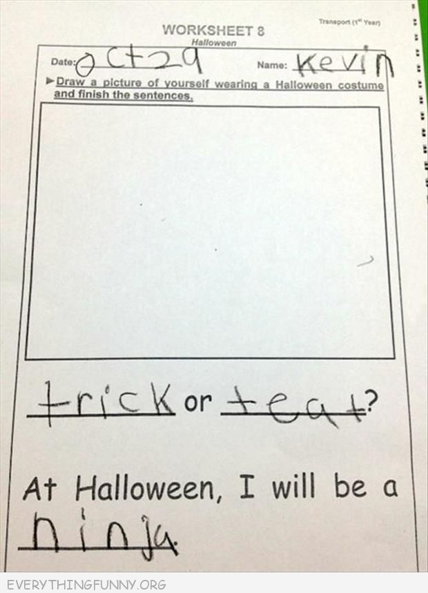 funny test answer halloween costume empty picture go as ninja