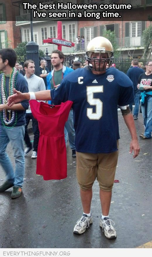 funny costume football player invisable girlfriend