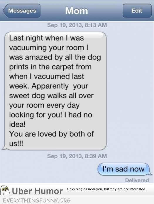 funny texts dog prints missing you i'm sad now