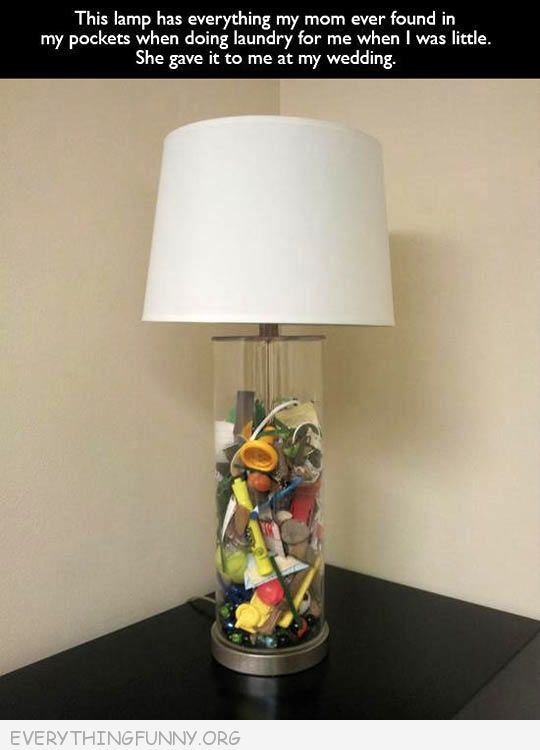 funny caption lamp filled with things found in pants since childhood