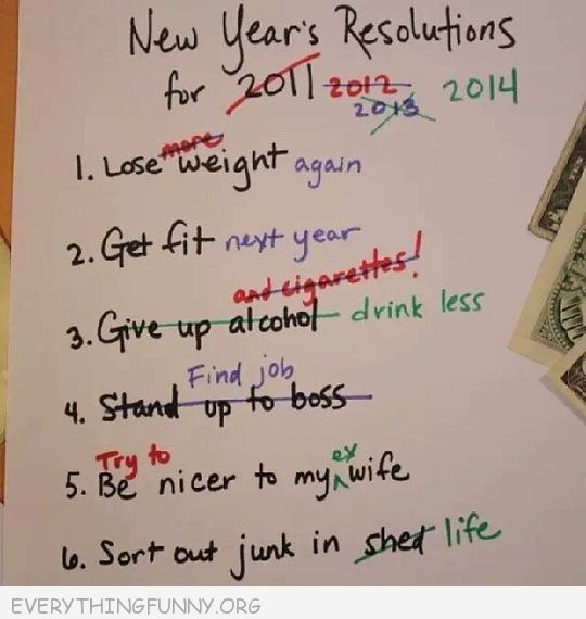 funny notes 2014 new years resolutions