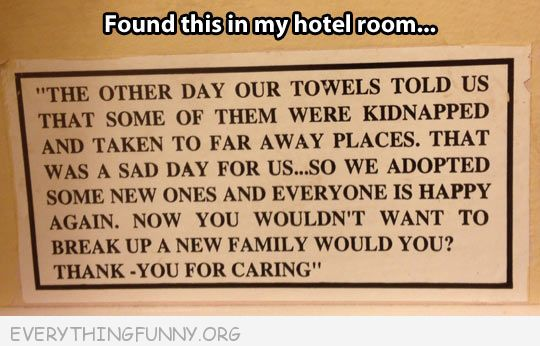 funny notes hotel towels kidnapped please don't break up family