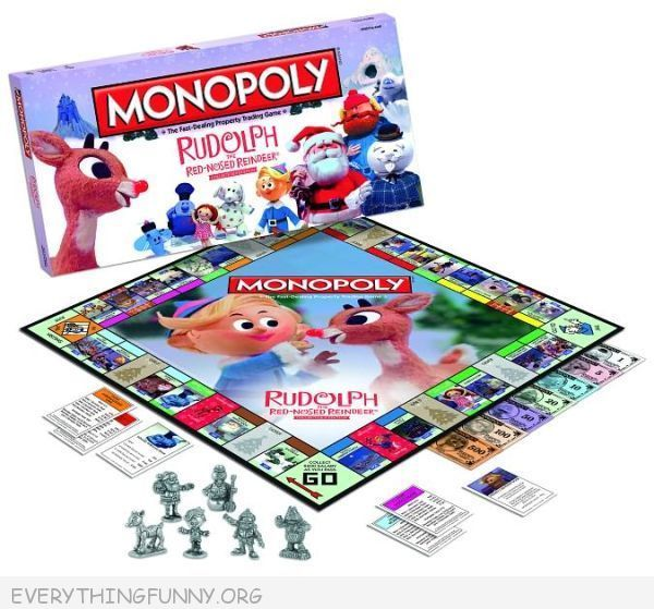 rudolph red nosed reindeer monopoly game, rudolph misfits monopoly,