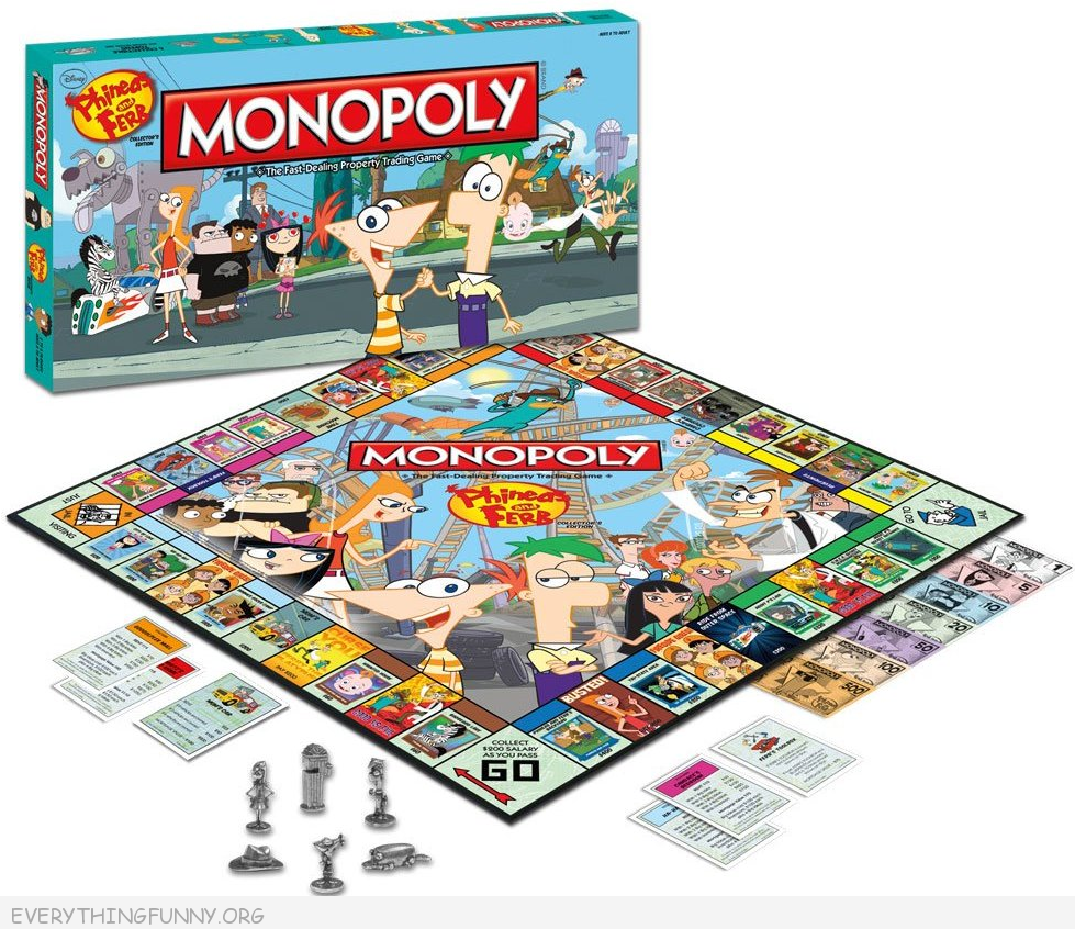 phineas and ferb monopoly games, phineas and ferb monopoly,