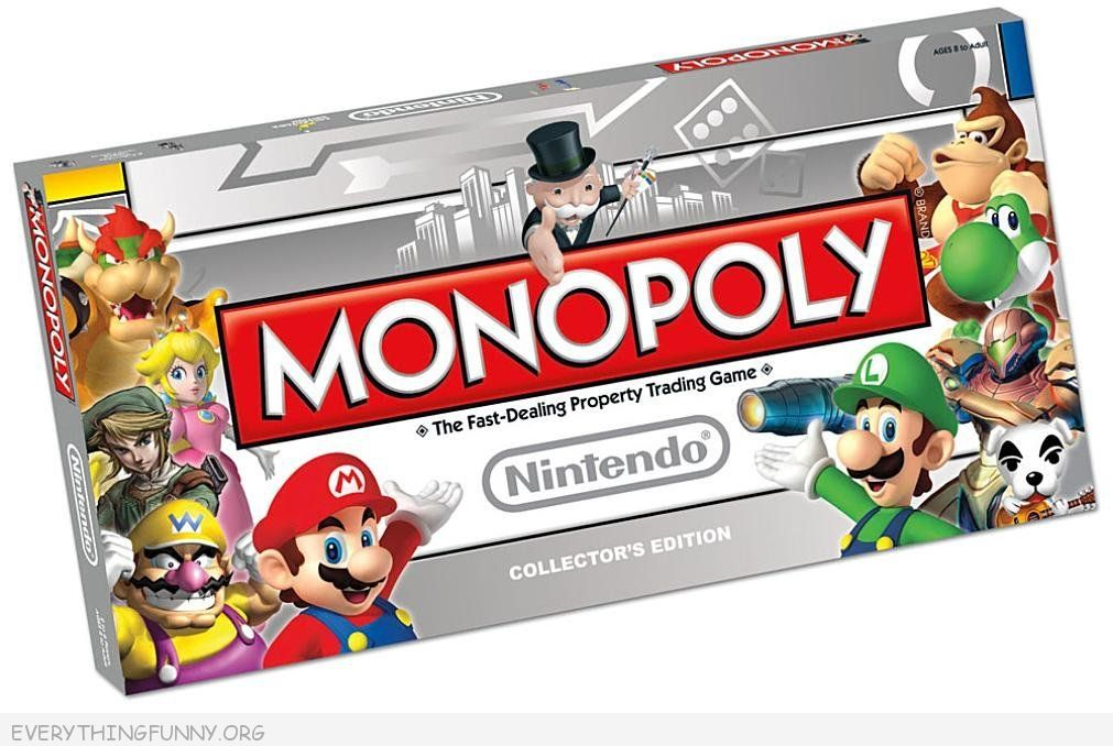 nintendo monopoly, Cool monopoly game, special edition monopoly games, collector monopoly games,