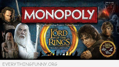 the lord of the rings monopoly game, monopoly game,