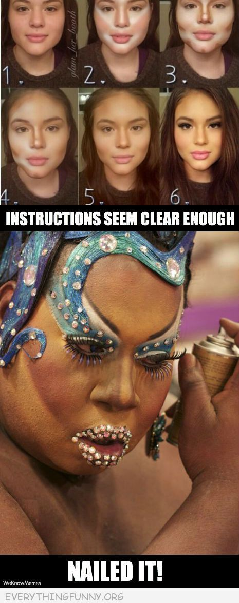 funny caption makeup instructions nailed it