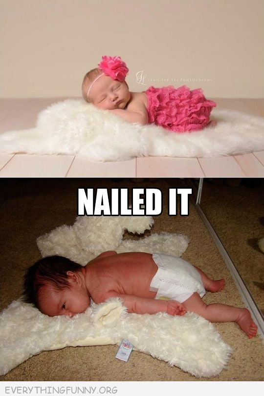 funny nailed it photo baby on rug