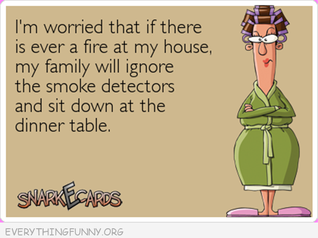 funny cartoon smoke alarm family would ignore and sit at the dinner table