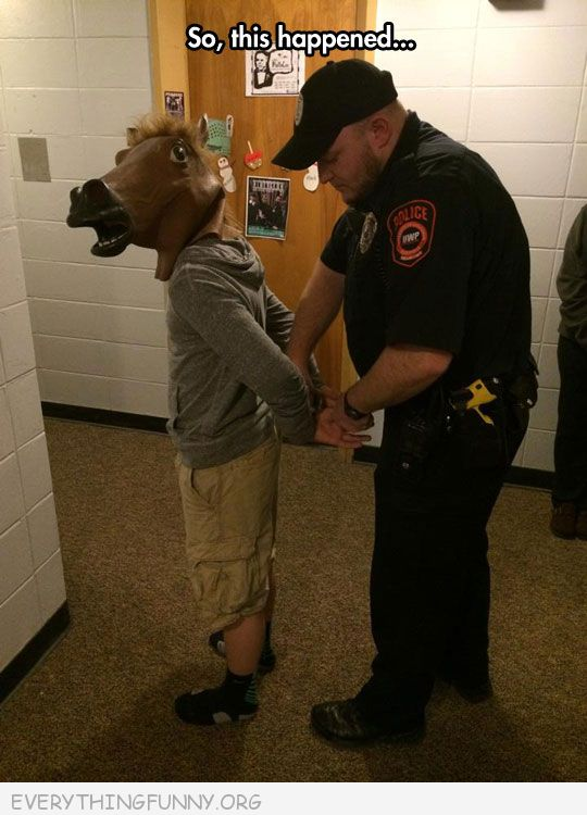 funny caption so this happened kid horsehead arrested
