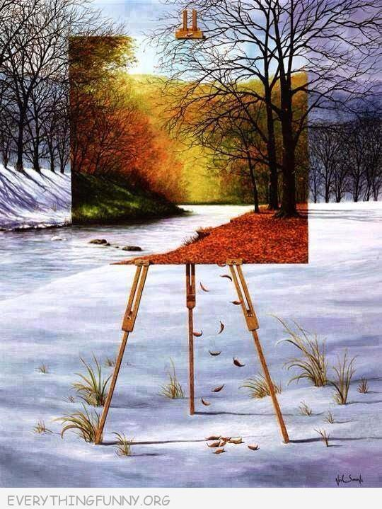 awesome painting color spring in winter scene