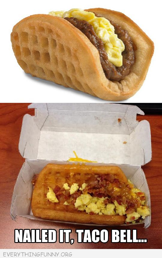funny taco bell waffle with eggs nailed it taco bell
