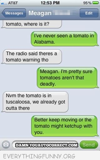 funny text message tomato might ketchup with you