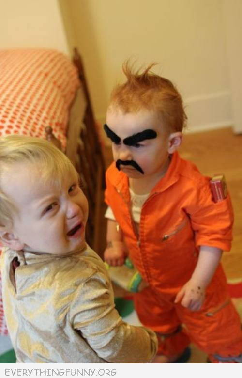 funny picture the more you look at it the more you laugh baby with mean eyebrows