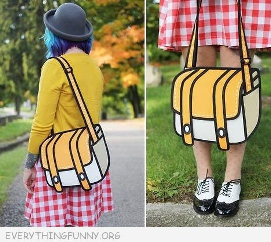 funny this is areal cartoon bag pocketbook
