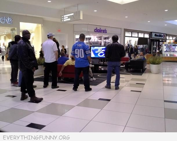funny picture when men are forced to go to the mall on football sunday