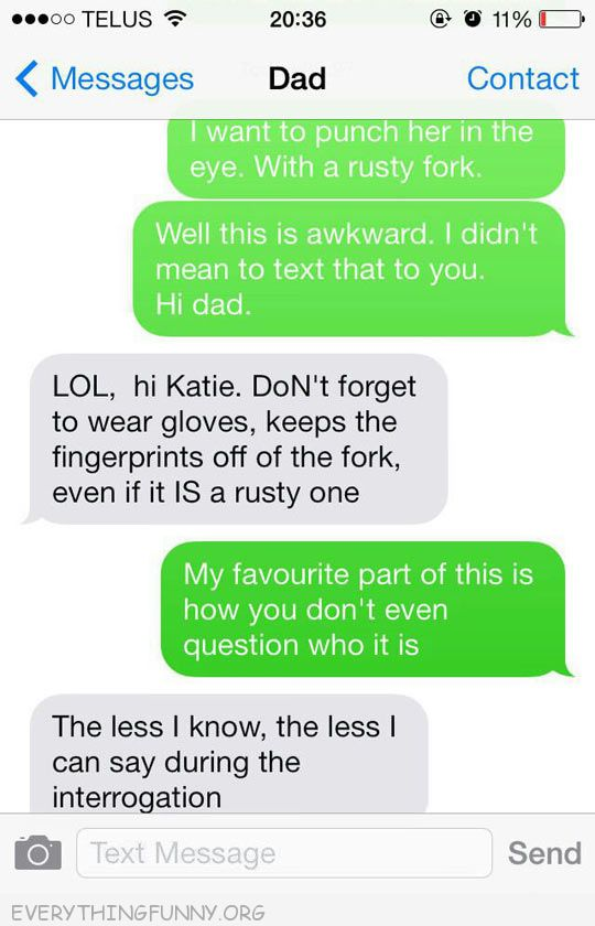 funny text messages stab her in eye with fork father wear gloves