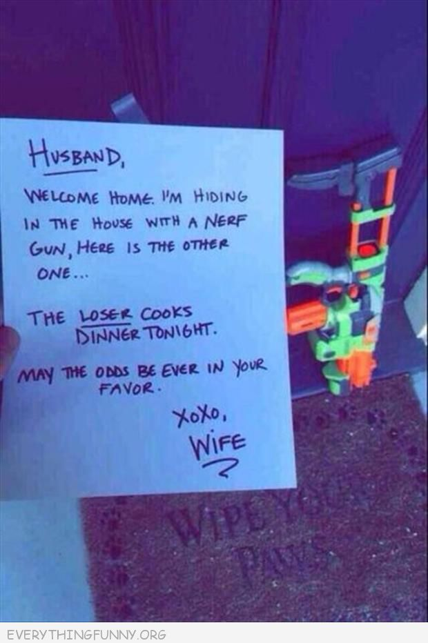 funny note husband nerf gun whoever loses makes dinner