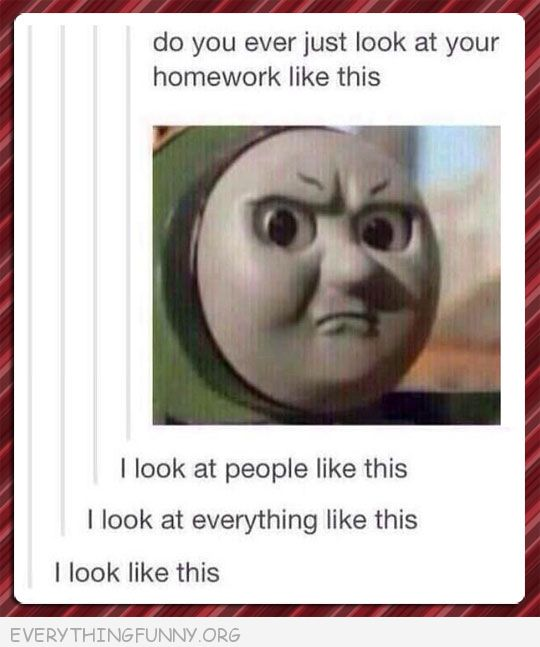 funny tumb;r this is how i look at homework people how i look