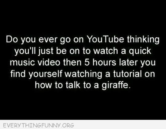 funny quote youtube quick video 5 hours later how to talk to a giraffe