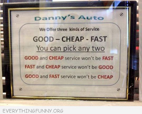 funny note in garage good cheap fast
