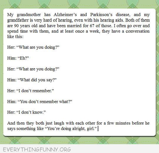funny status an old couple having a conversation