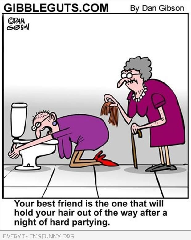 funny cartoons old ladies holding wig when throwing up