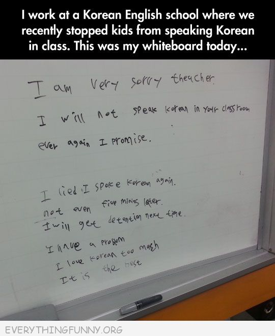 funny test answers do not speak korean in class