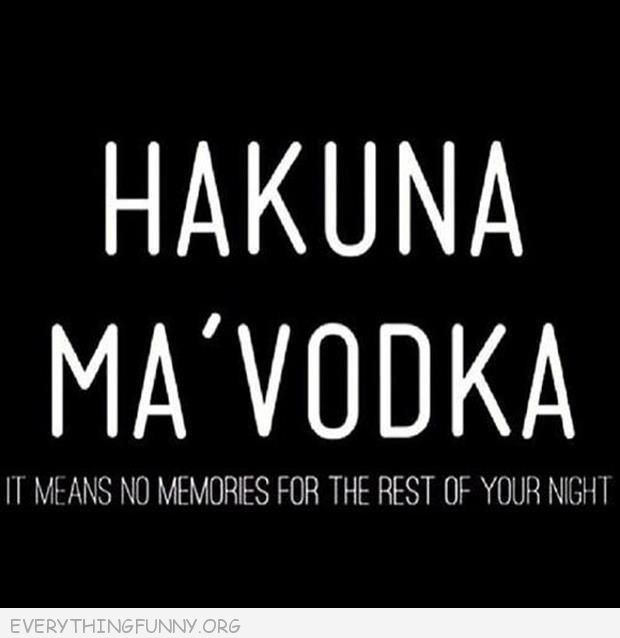 funny quotes hankuna ma vodka it means no memories for the rest of your night
