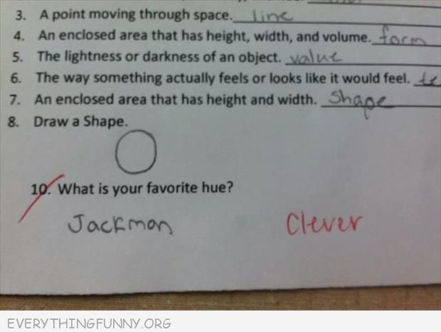 funny test answers favorite hue jackman