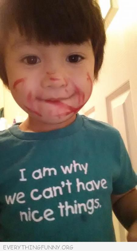funny photo messy kid wearing i'm the reason we can't have nice things tshirt